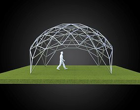3D Dome triangulated with openings wireframe structure