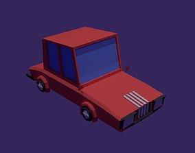 3D asset Red Low Poly Car