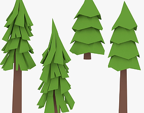 3D asset LowPoly Pine Trees