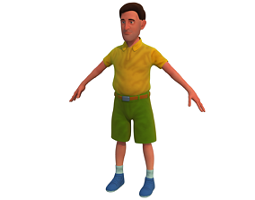 3D man with short rigged cartoon character