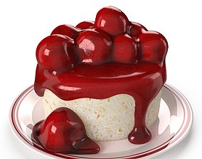 Cottage Cheese With Cherry And Jam 3D model