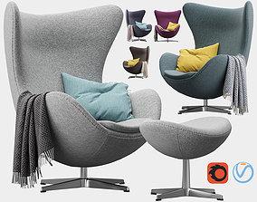 Egg lounge chair 3D model plaid