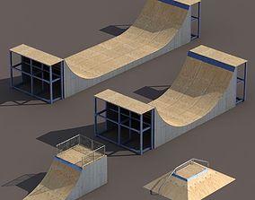 4 Skate park element Low Poly 3D asset