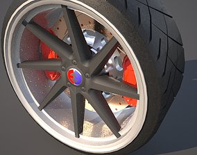 3D Car wheel with tire and brakes