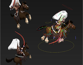 Clash royale style animated Horseman fantasy 3D asset