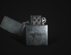 Low-poly Zippo 3D Model - Textures and UVs VR / AR ready