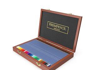 3D model Wooden Color Pencil Box