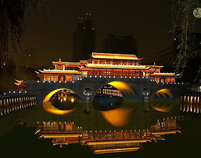 3D China ancient birdge - AnShun bridge night scene