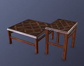 3D asset Solid Wood Coffee Table and End Table