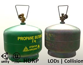 3D model Gas Cylinder 2kg Green