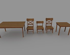 low 3D model Table and Chair