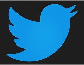 Twitter Bird Logo 3D asset