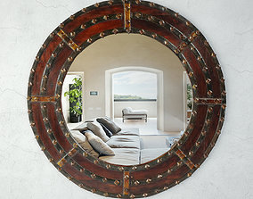 3D Round Ox Cart Mirror