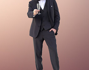 3D 11000 Sean - Man In Suit And Bow Tie With Champaign