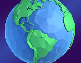 3D asset Planet Earth Low Poly Art Style