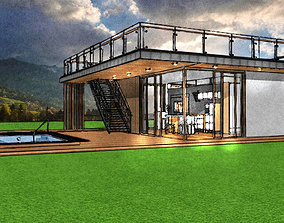 modern house with pool 3D model