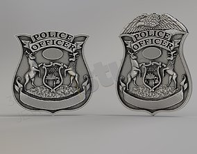 Pendant police officer badge 3d model police-jewelry