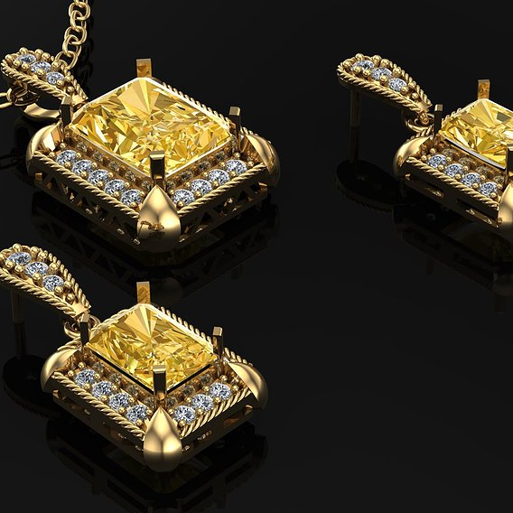 Half a set of diamond jewelry