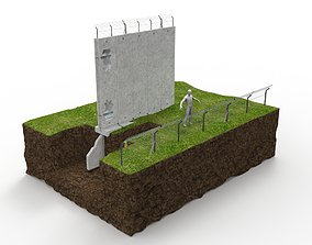 security fence and wall with sensors in cross section 3D