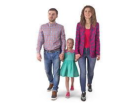 Family Walking 3D asset