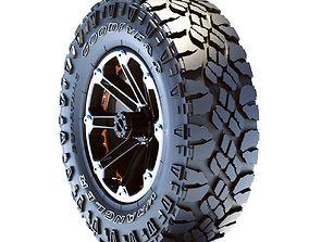 Tire Goodyear wrangler and rim 3D model car