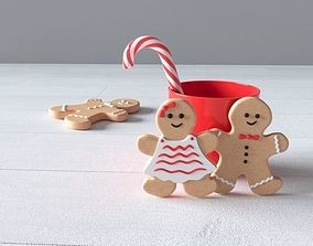 Christmas gingerbread man with glass and 3D model