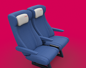 Train seat Plane passenger seats with pillow and 3D model