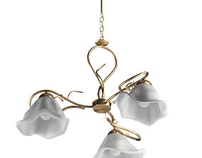 Gold And White Chandelier Lamp 3D model