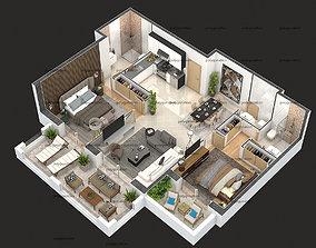 3D model detailed floor plan 2020
