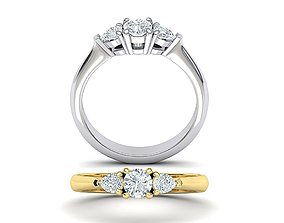 Three Stone ring Classic 3dmodel Printable