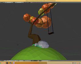 3D print model low poli tree in 3 d