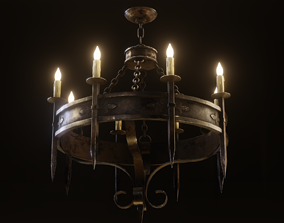 Gothic Chandelier game model 3D asset