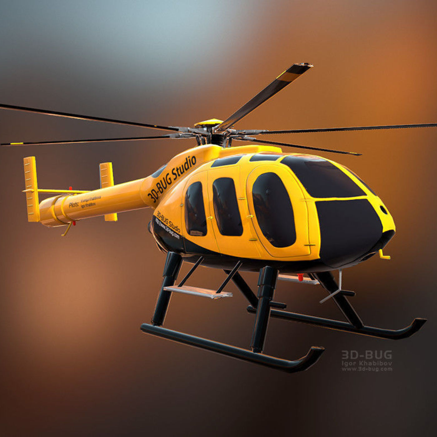 Low poly helicopter MD-600N