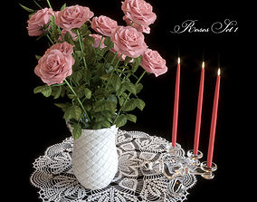 3D candlestick Pink roses