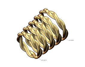 3D print model Overlapping braided band US sizes 5to9