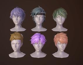 man-hair style boy-head cartoon cool face 3D model