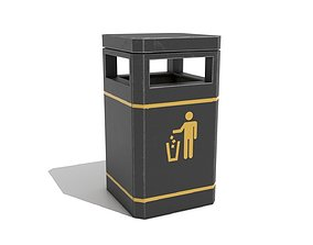 Street Assets - Square Rubbish Bin low-poly PBR