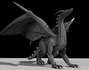 3D model Black Dragon Rigged and Game Ready