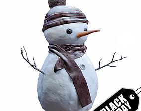 Snowman 3D model low-poly