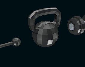 3D model Low poly Dumbbells