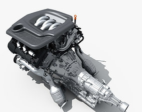 3D model Car Engine with Transmission