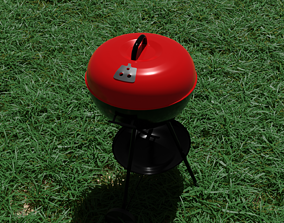 Portable Red Kettle Trolley charcoal barbecue 3D model