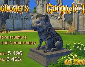 low-poly Hogwarts Stone Hog - gargoyle - 3d Sculpture 3D 1