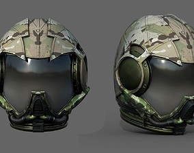 Gas mask helmet 3d model scifi military VR / AR ready 2