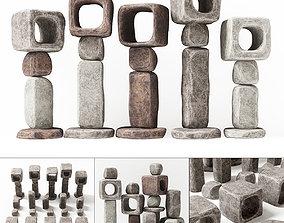 Stone cube ligt decorative n1 3D