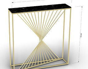 Brass Console Table With Black Marble 3D model
