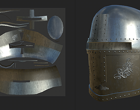 Medieval Closed Face Helm 3D model