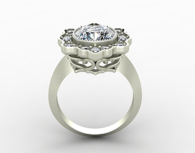 3D printable model Ring with Diamonds and Curvy Design