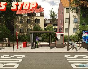 Low-Poly Bus Stop Pack 3D asset