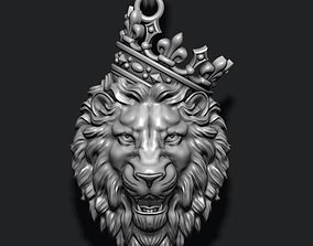Lion pendant with crown v3 3D print model